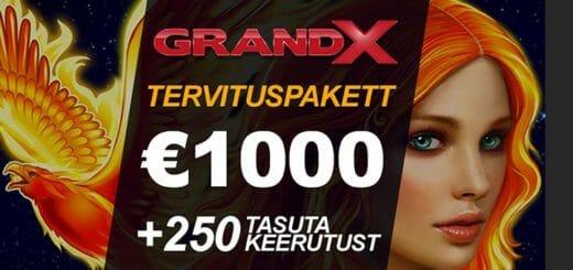 GrandX Online Casino boonus - €1000 väärtuses kasiinoboonuseid ja tasuta spinnid