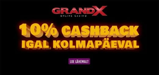 GrandX Online kasiinos igal kolmapäeval 10% cashback summas kuni €200