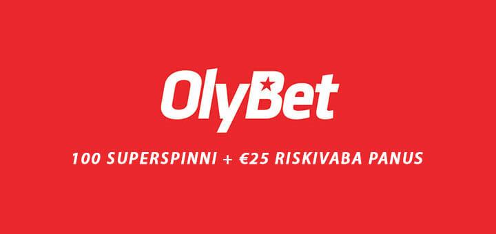 Olybet kasiino boonused - 100 superspinni ja €25 riskivaba panus
