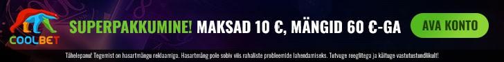 Coolbet kasiino superboonus - €10 sissemaksega kontole €60