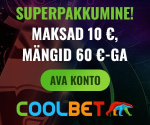 Coolbet kasiinos €10 sissemaksega kontole €60