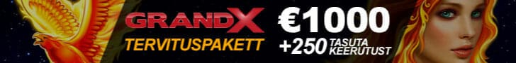 GrandX Online Casino uus tervituspakett - €1000 kasiinoboonus + tasuta spinnid