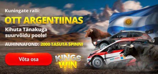 Kingswin kasiinos WRC Argentiina Ralli slotiturniir - auhinnafondis tasuta spinnid