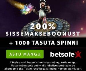 Betsafe kasiinos liitujatele 200% boonus + tasuta spinnid
