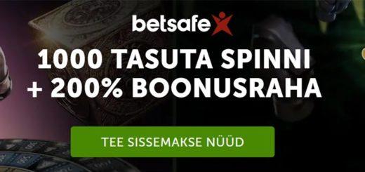 Betsafe online kasiinos liitujatele 1000 tasuta spinni + 200% boonus