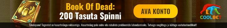 Coolbet kasiino Book of Dead mängus boonuskoodiga 200 tasuta spinni