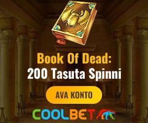 Coolbet kasiinos boonuskoodi kasutamisel koheselt 200 tasuta spinni