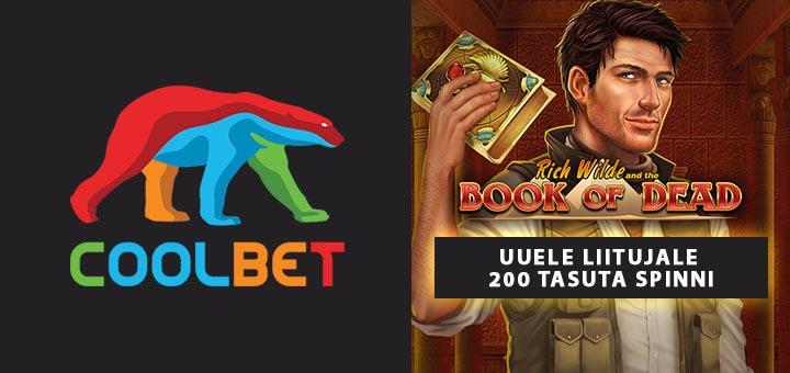 Coolbet.ee uuele liitujale boonuskoodi kasutamisel 200 tasuta spinni mängus Book of Dead