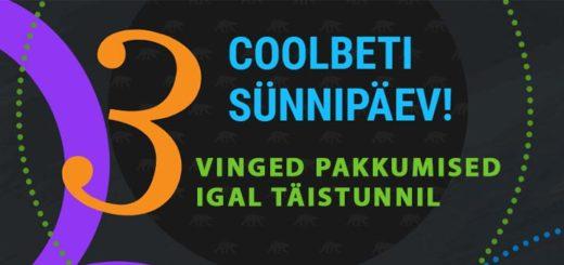 Coolbeti 3. sünnipäeva pakkumised - tasuta spinnid, boonused, freerollid, kasiinorallid ja palju muud