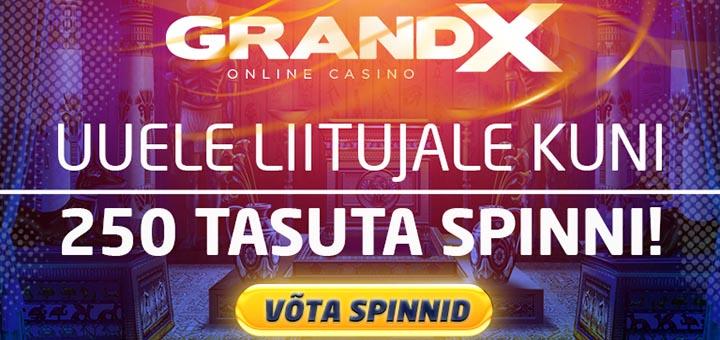 GrandX Casino uutele klientidele koheselt tasuta spinnid - kokku kuni 250 tasuta spinni 12-s erinevas slotimängus