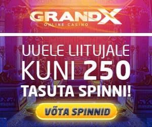 GrandX Online kasiinos uutele klientidele tasuta spinnid