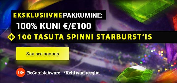 Tonybet Casino eksklusiivne uue mängija boonus - 100% kuni €100 + tasuta spinnid
