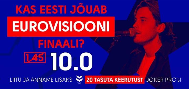 Victor Crone viib Eesti Eurovisioon 2019 finaali - koefitsient 10.00 + tasuta spinnid uuele liitujale
