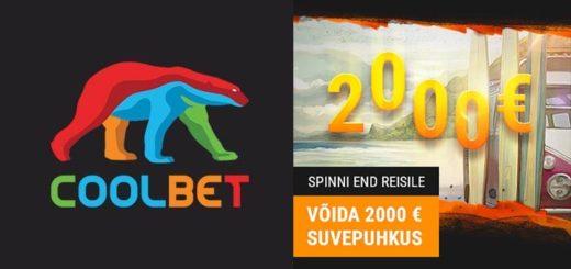 Võida Coolbet kasiinos tasuta spinnidega €2000 täiesti tasuta reisiraha