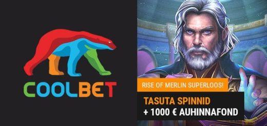 Rise of Merlin Superloos Coolbet kasiinos - võida kuni €500 või 100 tasuta spinni