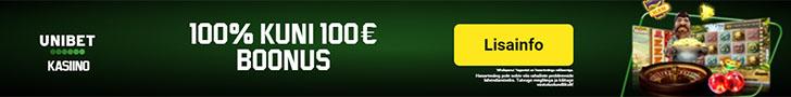 Unibet kasiino boonused - 100% kuni €100 + 5 tasuta spinni registreerimisel