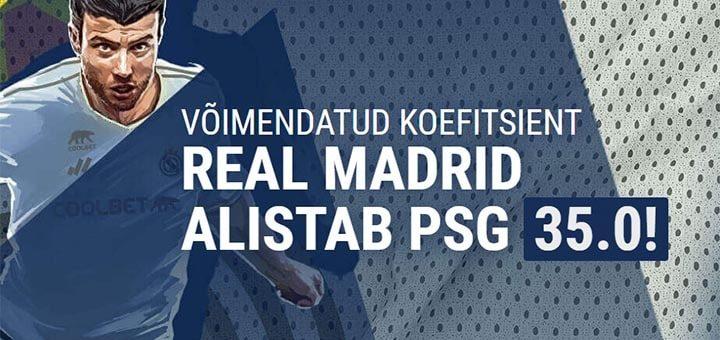 Real Madrid vs PSG võimendatud koefitsiendid Coolbet'is