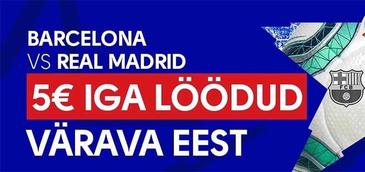 El Clasico (Barcelona vs Real Madrid) pakkumine OlyBet'is - iga värav annab tasuta panuse
