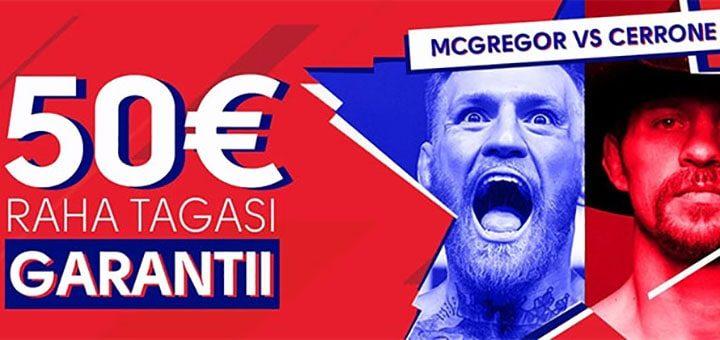 Olybet - McGregor vs Cerrone uue kliendi riskivaba panus