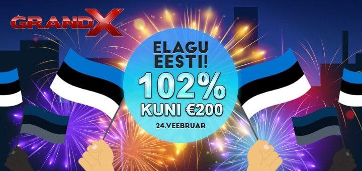 Eesti Vabariigi 102. sünnipäeva boonus GrandX online kasiinos