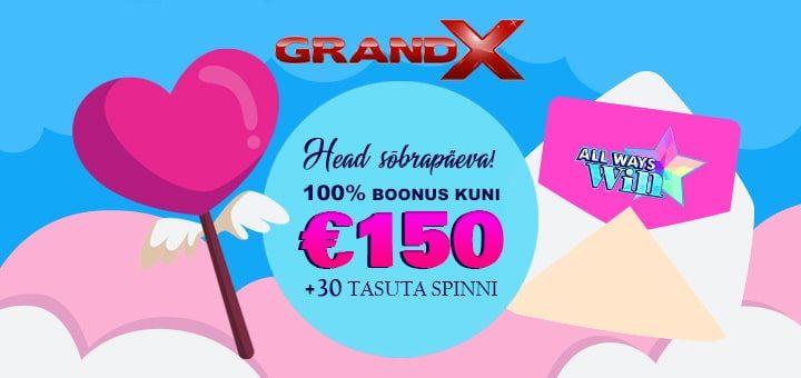 GrandX Online Casino sõbrapäeva boonus ja tasuta spinnid