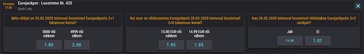 Eurojackpot loosimise tulemuste ennustus ja koefitsiendid