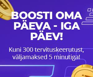 Boost Casino boonus - €300 eest tasuta spinne + 10% cashback'i