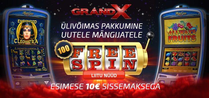 GrandX kasiinos esimesel sissemaksel 100 tasuta spinni