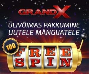 GrandX kasiinos uutele liitujatele 100 tasuta spinni