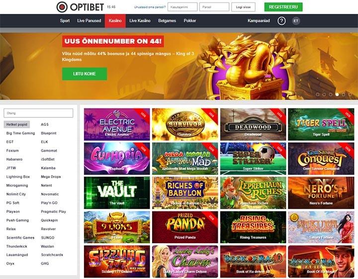 Optibet.ee kasiino mängude üldvaade