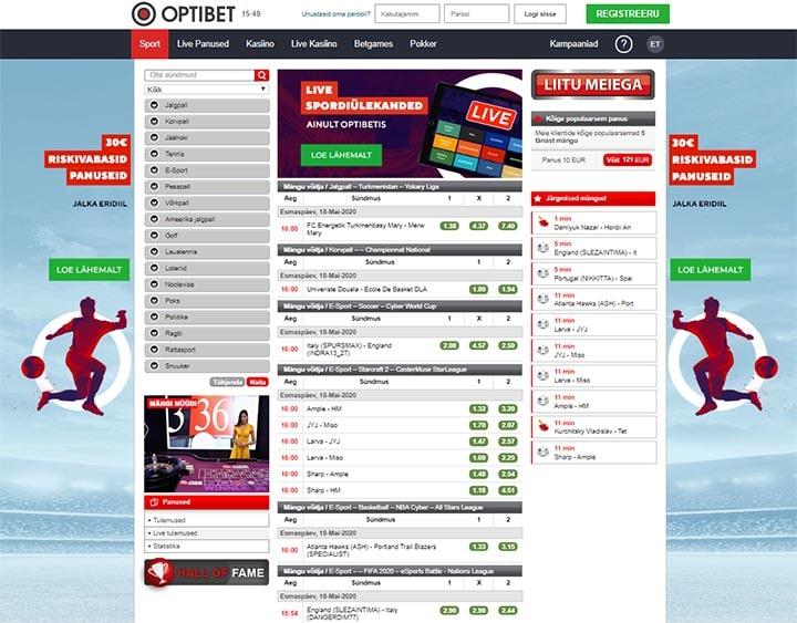 Optibet.ee spordiennustuse üldvaade