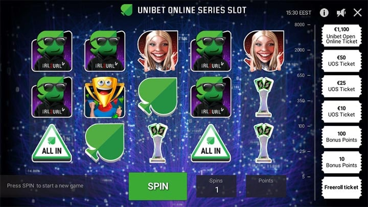 Unibet Online Series Slot