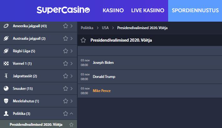Ameerika Presidendivalimised 2020 spordiennustus SuperCasino lehel