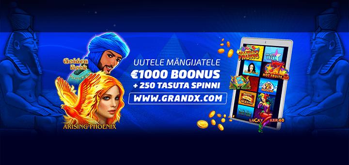 GrandX kasiinos liitumisel 250 tasuta spinni ja vinge boonus