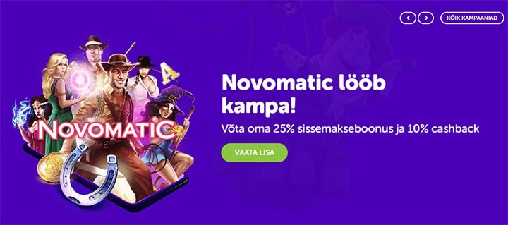 Novomatic mängude eripakkumine