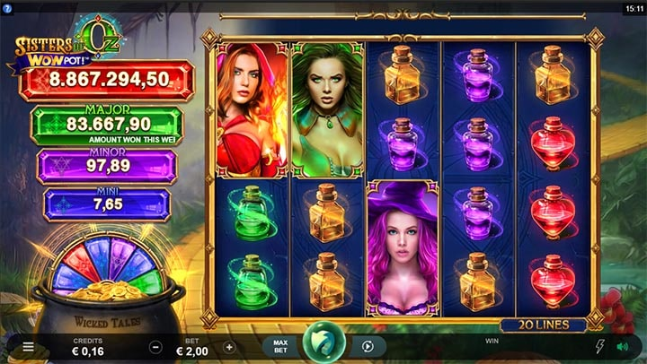 Sisters of Oz Wowpot jackpot slot