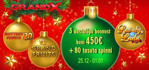 GrandX Casino kolm pühade boonust
