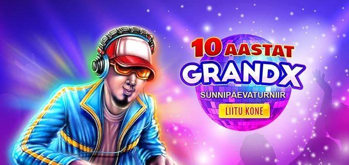 GrandX Casino 10. sünnipäeva slotiturniir - võida tasuta spinne