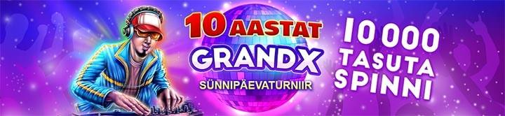 GrandX Casino sünnipäeva turniiri tasuta spinnid