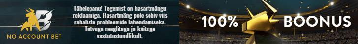 No Account Bet kasiino & sport - võta koheselt €100 boonus