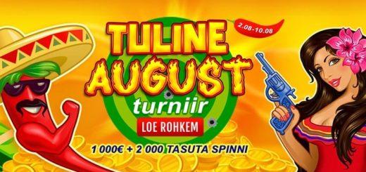 GrandX kasiino tuline augusti turniir - auhinnafondis €1000 + 2000 tasuta spinni