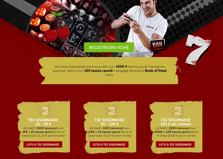 Betsafe kasiino superboonus - €1000 boonusraha + 100 tasuta spinni