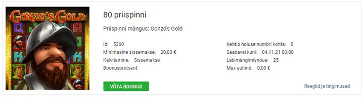 Võta Gonzo's Gold slotimängus koheselt 80 tasuta spinni